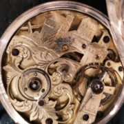 Rare silver engrawed pocket watch at Clock Gallery Prague
