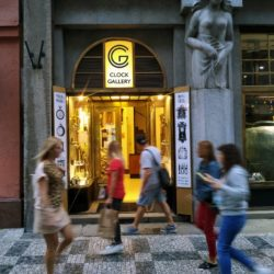 Clock Gallery Prague main entrance with Jan Strursa sculpture